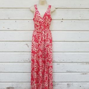 Nina Leonard Dresses - Lennie for Nina Leonard Red Tan Maxi Dress